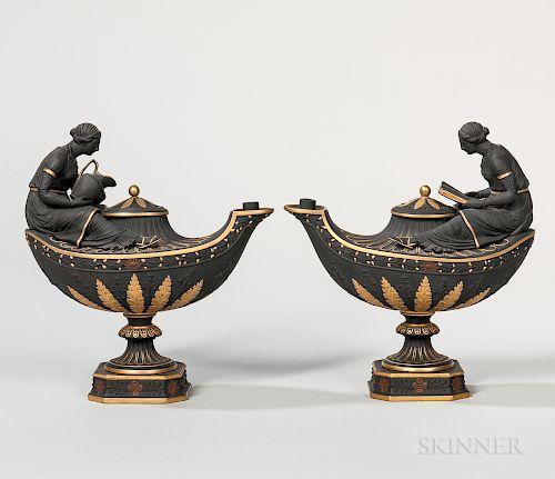 Pair of Wedgwood Gilt and Bronze Black Basalt Oil Lamps