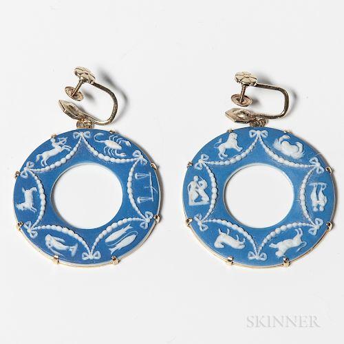 Pair of Wedgwood Dark Blue Jasper Dip-mounted Earrings