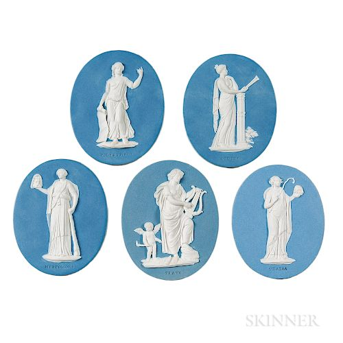Five Wedgwood & Bentley Solid Blue Jasper Medallions