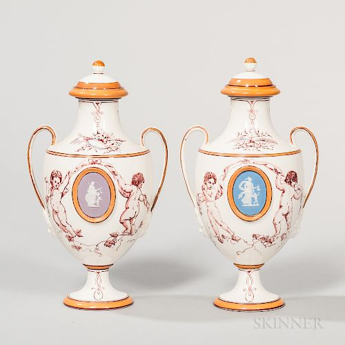 Pair of Wedgwood Jasper-mounted Emile Lessore Queen's Ware Vases and Covers