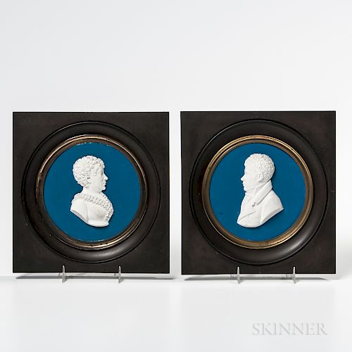Two French White Stoneware Portrait Plaques