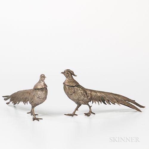 Pair of Brass Pheasants