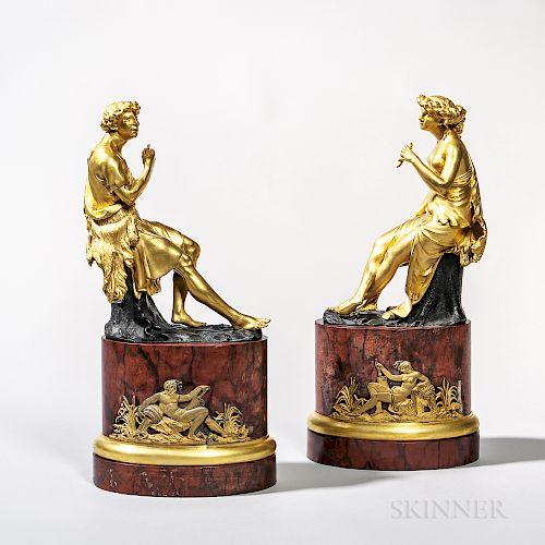 Pair of Gilt-bronze Figures of a Shepherd and Shepherdess