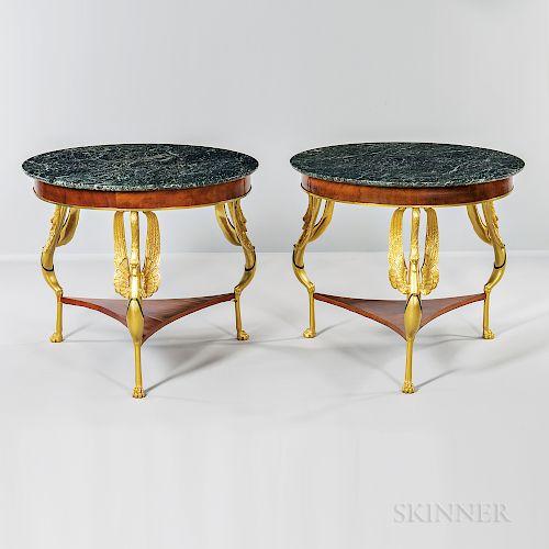 Pair of Verde Antique-top Ormolu-mounted Walnut-veneered Center Tables