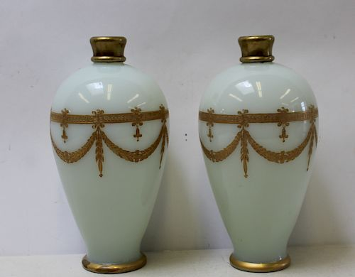 Pair of Gilt Decorated Opaline Glass Vases Lamps.