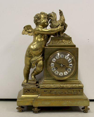 Antique Gilt Bronze Figural Clock Signed P.R.