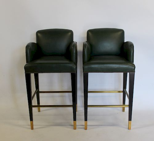 DONGHIA. Pair of Leather Upholstered Stools.