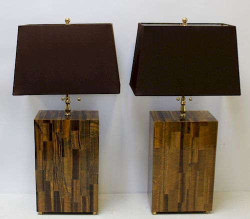 Pair of Midcentury Style Tigers Eye Lamps.