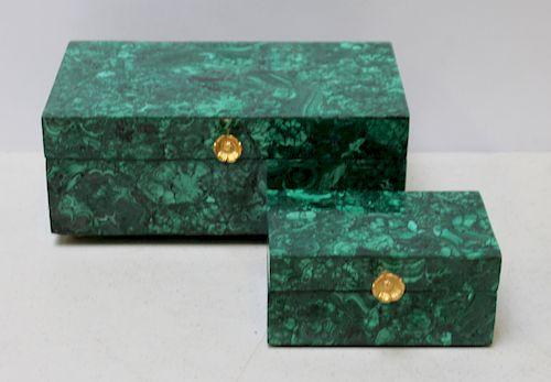 2 Malachite Jewelry Boxes with Brass Feet