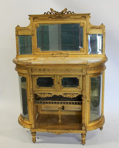Louis XVI Style Giltwood and Mirrored Back