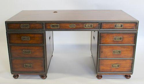 Theodore Alexander Campaign Style Walnut Desk.