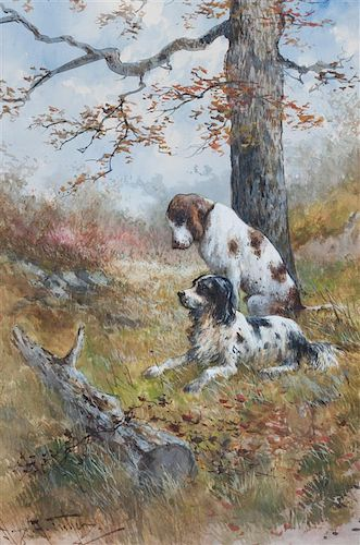 Hugo Anton Fisher, (American, 1854-1916), Two Sporting Dogs Beneath a Tree