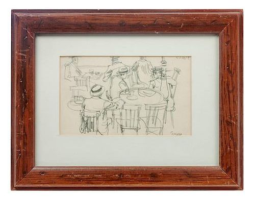 George Grosz, (American, 1893-1959), Scene au Cafe, 1912