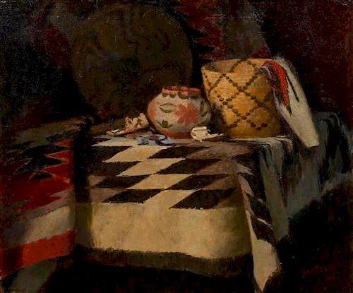 * Gustav Goetsch, (American, 1877-1969), Indian Blanket, 1956