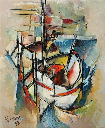 Roger Lersy, (French, 1920-2004), Les Barques, 1958