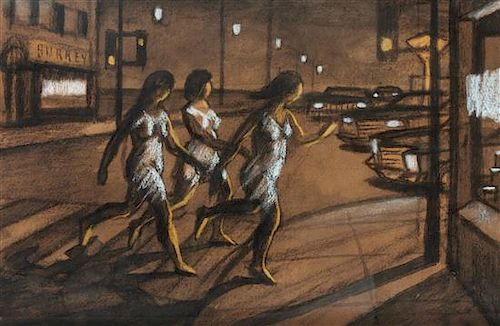 * Philip Surrey, (Canadian, 1910-1990), Untitled (Figures running across the street)