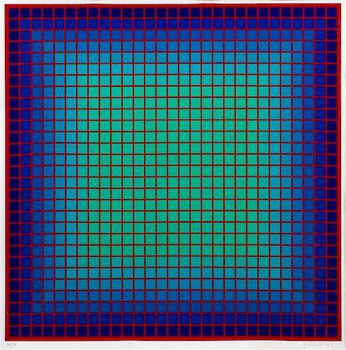 Julian Stanczak, (Polish-American, 1928-2017), Conferring Blue BR, 1979