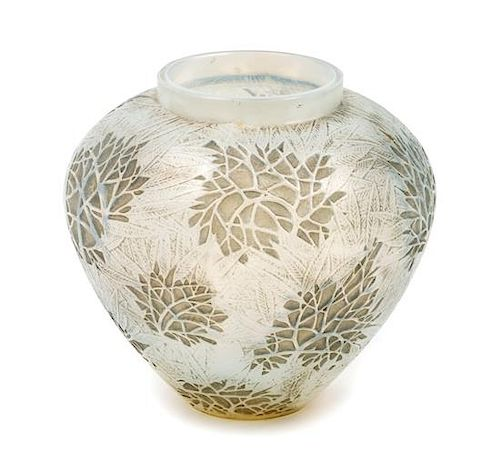 A Rene Lalique Glass Vase Height 6 inches.