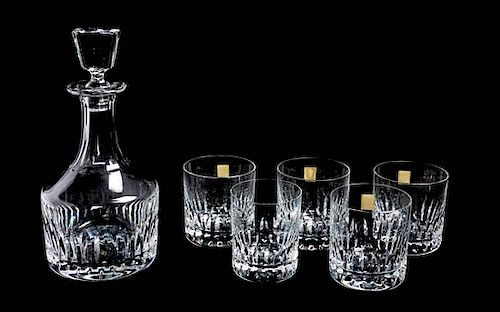 * A Saint Louis Decanter and Lowball Set Height of decanter 10 1/2 inches.