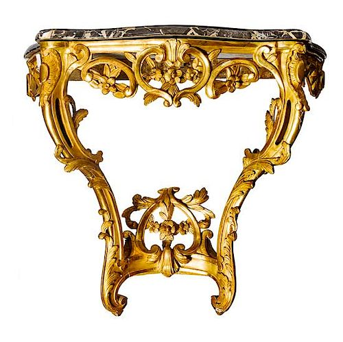 A Louis XV Style Giltwood Console Table Height 33 inches.