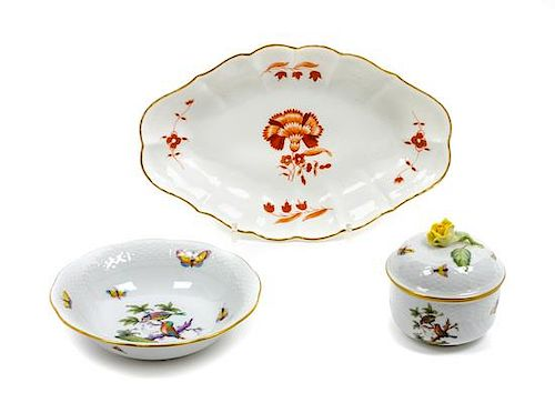 * Two Herend Porcelain Articles Width of widest 11 inches.
