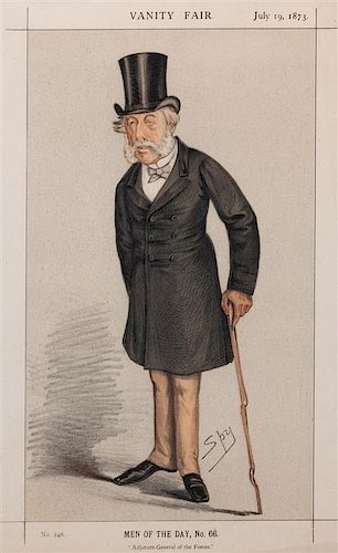 * A Group of Five Handcolored Engravings from Vanity Fair Largest: 14 x 8 3/4 inches.