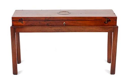 * A George III Mahogany Gun Case Height overall 19 1/4 x width 32 3/4 x depth 10 1/4 inches.