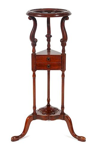 * A Georgian Style Mahogany Wig Stand Height 32 inches.