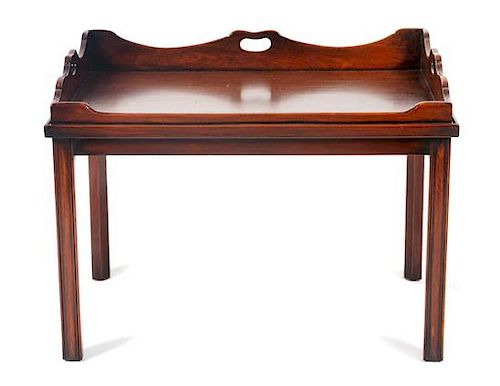* A Georgian Style Mahogany Butler's Tray Table Height 19 3/4 x width 29 1/4 x depth 21 inches.