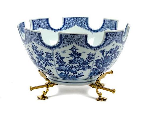 * A Mottahedeh Porcelain Monteith Diameter of first 12 1/4 inches.