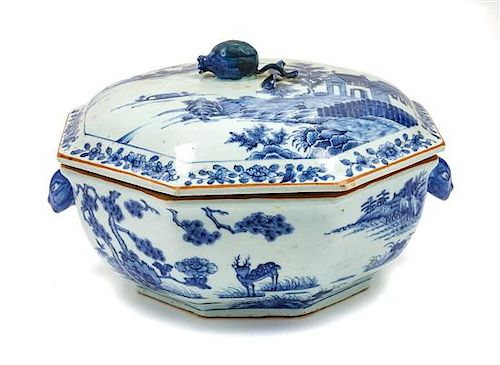 * A Chinese Export Porcelain Lidded Tureen Height 8 x width 13 x depth 12 1/2 inches.