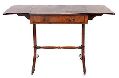 * A Regency Mahogany Sofa Table Height 28 x width 46 1/4 x depth 26 1/2 inches (open).