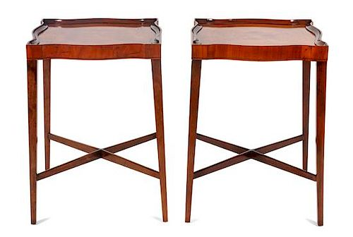 * A Pair of Chippendale Style Walnut End Tables Height 24 1/2 x width 17 x depth 17 inches.