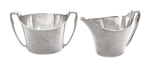 * A Danish Silver Creamer and Sugar Set, Hans Hansen, Copenhagen, each handled.