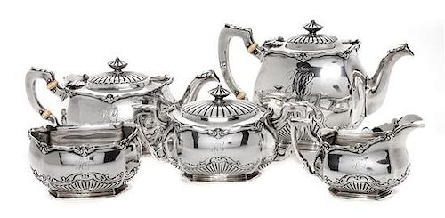 * An American Five-Piece Silver Tea Service, Gorham Mfg. Co., Providence, RI, comprising teapot, coffee pot, creamer, sugar and