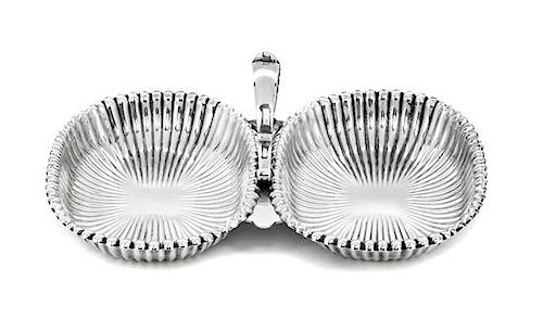 An Amerian Silver Double Salt Cellar, Gorham Mfg. Co., Providence, RI, with handle in center.