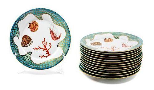 * Fourteen Lynn Chase Porcelain Salad Plates Diameter: 8 3/4 inches.