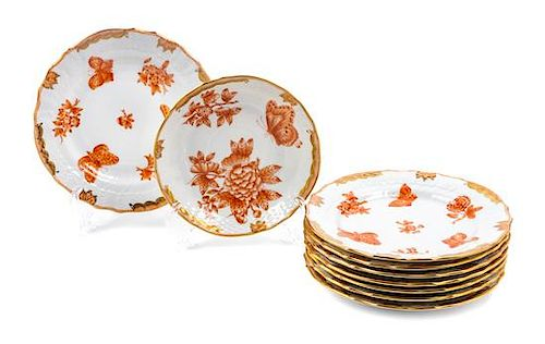 * A Group of Eight Side Plates Diameter of first: 6 1/8 inches.