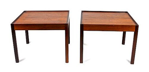 * A Pair of Teak Side Tables Height 20 x width 26 x depth 23 inches.