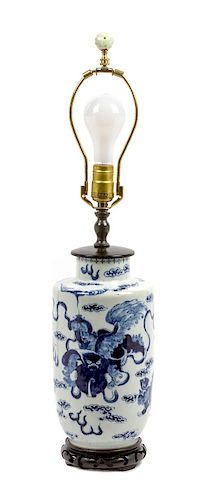 * A Chinese Porcelain Vase Height overall 26 inches.