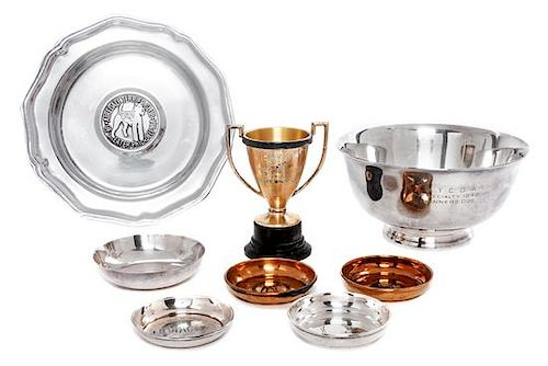 * A Group of Eight Silverplate and Pewter Articles related to Airedale Terriers Width of widest 9 1/8 inches.