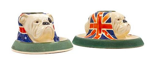 * Two Royal Doulton Bulldog Match Holder and Strikers Height 3 1/8 inches.