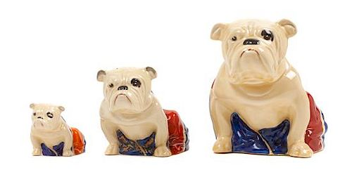 * A Group of Three Royal Doulton Bulldogs Height of tallest 6 inches.