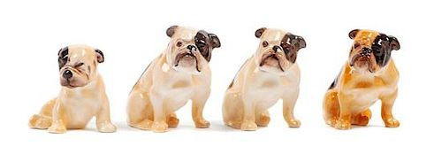 * A Group of Four Royal Doulton Bulldogs Height of tallest 2 1/4 inches.