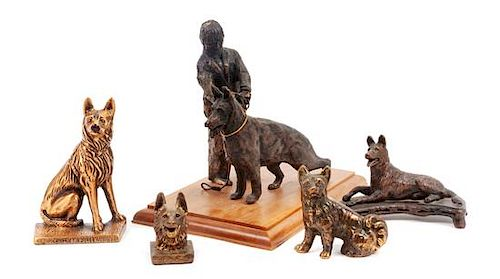 * A Group of Five Bronze and Metal German Shepherds Height of tallest 10 inches.