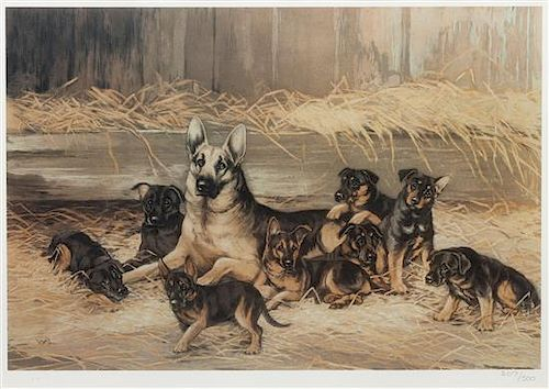 * Four Works of Art depicting German Shepherds Largest: 12 1/4 x 14 1/2 inches.