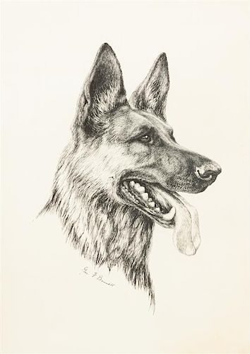 * Two Works of Art depicting German Shepherds Larger: 20 x 16 inches.