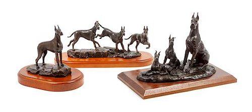 * Three Bronze Great Dane Sculptures Width of widest 12 inches.