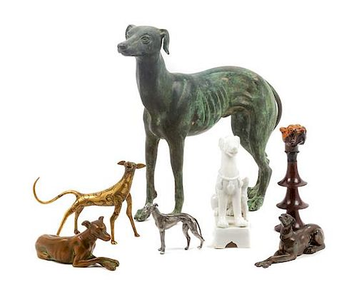 * A Group of Seven Greyhound Figures Height of tallest 12 1/4 inches.