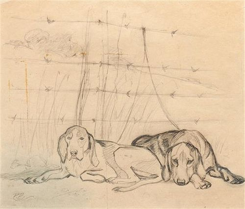 * Two Works of Art depicting Greyhounds Largest: 25 x 29 inches.